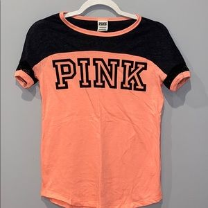 pink t-shirt with a little bit of mesh